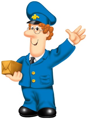 Postman Pat, Postman Pat, Postman Pat and his black and white cat.  EARLY IN THE MORNING, JUST AS DAY IS DAWNING...